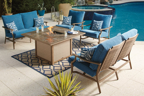Shop Ashley Furniture Partanna Blue/Beige Fire Pit Table with 2 Lounge Chairs and 2 Loveseat at Mealey's Furniture