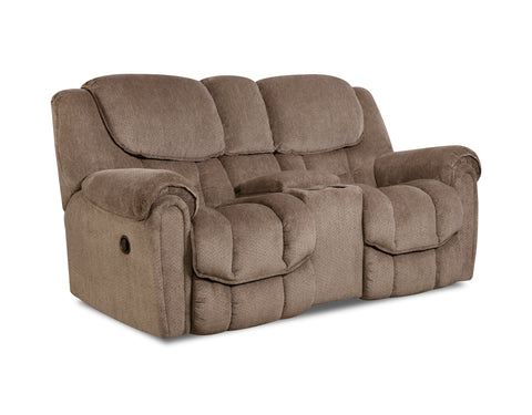 Shop Home Stretch Del Mar Taupe Power Reclining Loveseat With Console at Mealey's Furniture