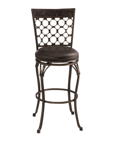 "Shop Hillsdale Brescello 30"" Swivel Bar Stool Antique Pewter/Blue Stone Top Rail at Mealey's Furniture"