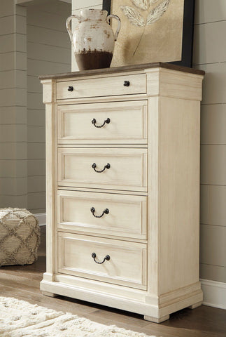 Shop Ashley Furniture Bolanburg Antique White Five Drawer Chest at Mealey's Furniture