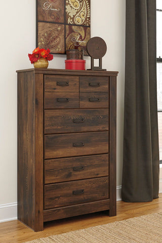 Shop Ashley Furniture Quinden Dark Brown 5 Drawer Chest at Mealey's Furniture