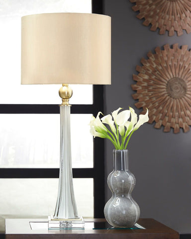 Shop Ashley Furniture Laureen White/Brass Finish Glass Table Lamp (2/CN) at Mealey's Furniture