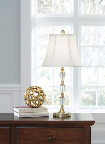 Madra Clear/Gold Finish Crystal Table Lamp (2/CN)