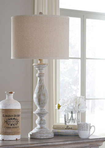 Shop Ashley Bernadate Whitewash Poly Table Lamp (2/CN) at Mealey's Furniture