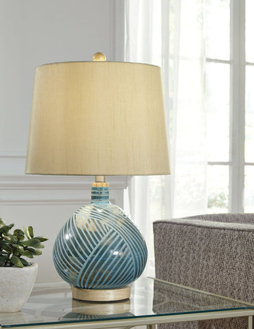 Shop Ashley Furniture Jenaro Teal Glass Table Lamp (1/CN) at Mealey's Furniture
