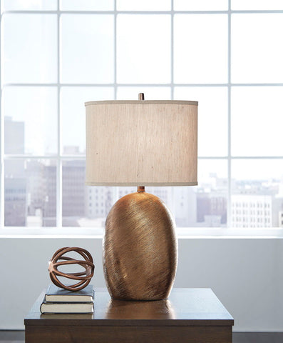 Lewelyn  Copper Finish Ceramic Table Lamp (2