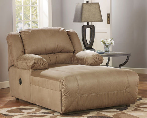 Shop Ashley Furniture Hogan Mocha Prsbk Chaise 2 Arm at Mealey's Furniture