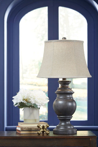 Shop Ashley Furniture Leonadra Antique Black Poly Table Lamp (2/CN) at Mealey's Furniture