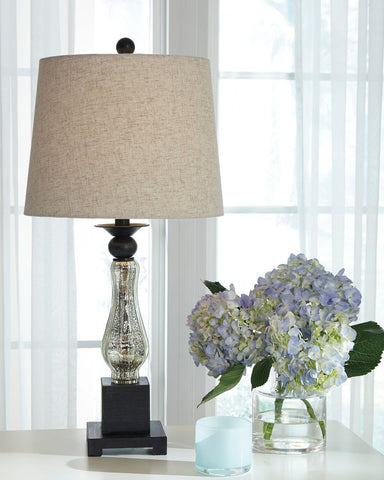 Shop Ashley Furniture Stephan Black/Silver Finish Glass Table Lamp (2/CN) at Mealey's Furniture
