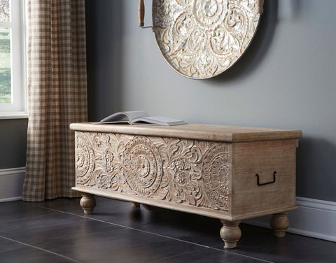 Shop Ashley Furniture Fossil Ridge Beige Storage Bench at Mealey's Furniture