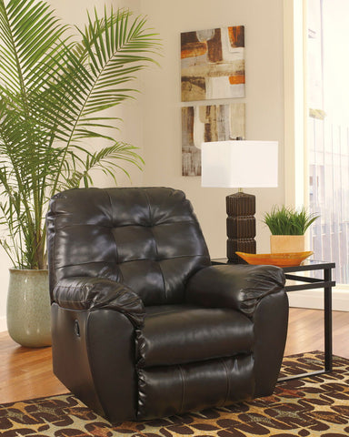 Shop Ashley Furniture Alliston Dura Blend Chocolate Rocker Recliner at Mealey's Furniture