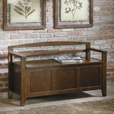 Shop Ashley Furniture Charvanna Dark Brown Storage Bench at Mealey's Furniture