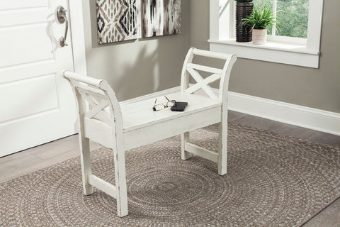 Shop Ashley Furniture Heron Rifge White Accent Bench at Mealey's Furniture