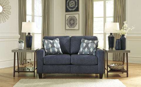 Shop Ashley Furniture Burgos Navy Loveseat at Mealey's Furniture
