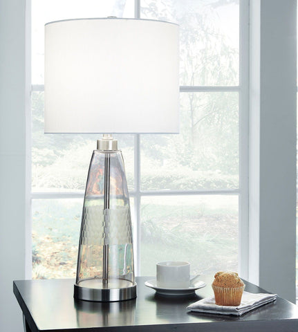 Shop Ashley Furniture Larrance Gray Glass Table Lamp (1/CN) at Mealey's Furniture