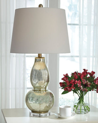 Shop Ashley Furniture Laraine Gold Finish Glass Table Lamp (2/CN) at Mealey's Furniture