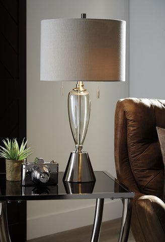Shop Ashley Furniture Maizah Champagne Glass Table Lamp (2/CN) at Mealey's Furniture