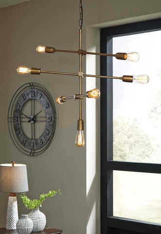 Shop Ashley Furniture Nastalya- Gold Finish Metal Pendant Light (1/CN) at Mealey's Furniture