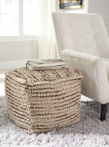 Shop Ashley Furniture Jorge- Brown/ Cream Pouf at Mealey's Furniture
