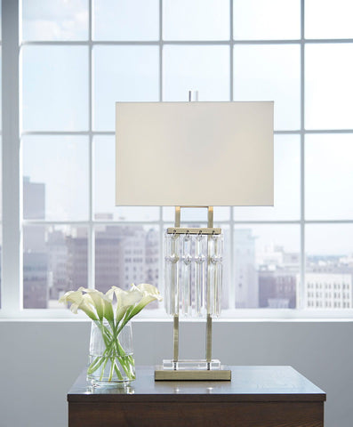 Shop Ashley Furniture Megdalia Clear/Brass Finish Metal Table Lamp (1/CN) at Mealey's Furniture