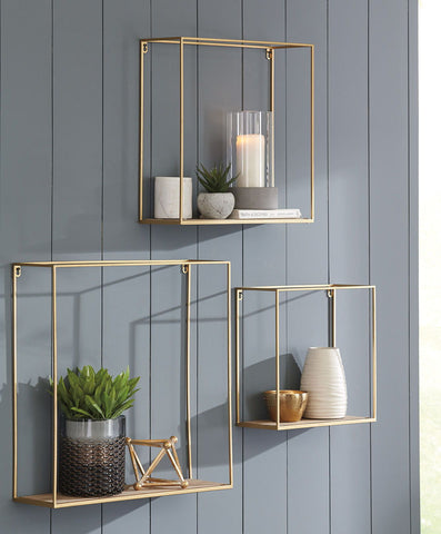Efharis- Natural/Gold Finish Wall Shelf Set (3/CN)