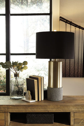 Shop Ashley Furniture Jacek Gray/Brass Finish Metal Table Lamp (2/CN) at Mealey's Furniture