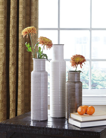 Shop Ashley Deus Gray/White/Brown Vase Set (3/CN) at Mealey's Furniture