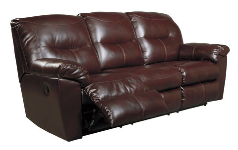 Shop Ashley Furniture Kilzer Mahogany Reclining Sofa   Mahongany at Mealey's Furniture