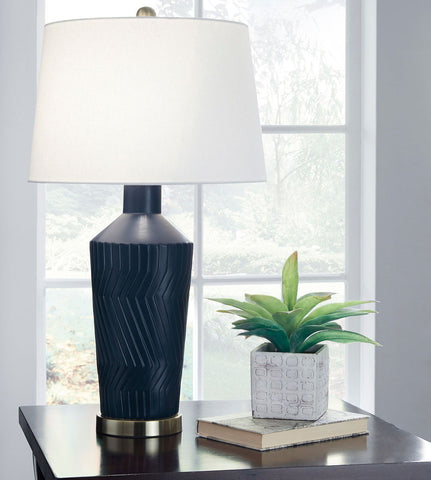 Shop Ashley Furniture Leroi Blue Ceramic Table Lamp (2/CN) at Mealey's Furniture