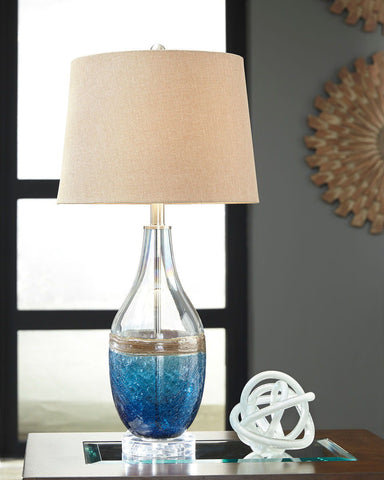 Shop Ashley Furniture Johanna Blue/Clear Glass Table Lamp (2/CN) at Mealey's Furniture