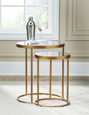 Shop Ashley Furniture Majaci Gold Finish/White Accent Table (set Of 2) at Mealey's Furniture