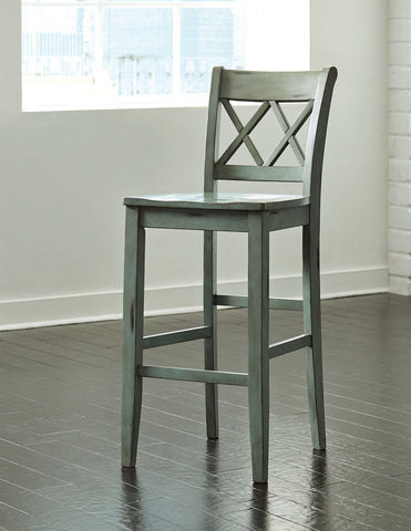 Shop Ashley Furniture Mestler Tall Barstool   Antique Blue at Mealey's Furniture