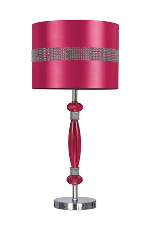 Nyssa Hot Pink/Silver Finish Acrylic Table Lamp (1/CN)
