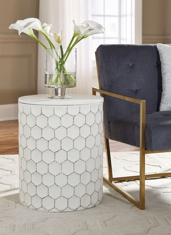 Shop Ashley Furniture Polly White Stool at Mealey's Furniture