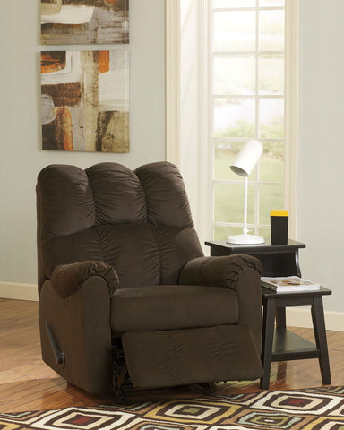Shop Ashley Furniture Raulo Chocolate Rocker Recliner at Mealey's Furniture