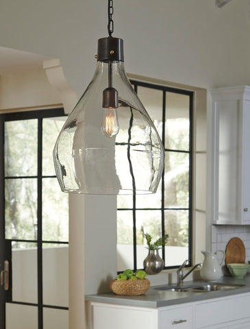 Shop Ashley Furniture Avalbane Clear/Gray Glass Pendant Light (1/CN) at Mealey's Furniture