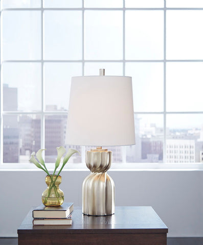 Shop Ashley Furniture Makalia Champagne Poly Table Lamp (1/CN) at Mealey's Furniture