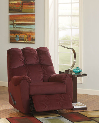 Shop Ashley Furniture Raulo Burgundy Rocker Recliner at Mealey's Furniture