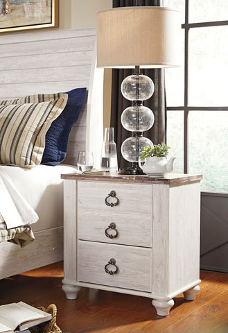 Shop Ashley Furniture Willowton Whitewash Two Drawer Night Stand at Mealey's Furniture