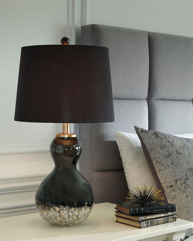 Shop Ashley Furniture Arma Black/Copper Finish Glass Table Lamp (2/CN) at Mealey's Furniture