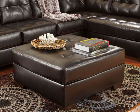Shop Ashley Furniture Alliston Dura Blend Chocolate Oversized Accent Ottoman at Mealey's Furniture