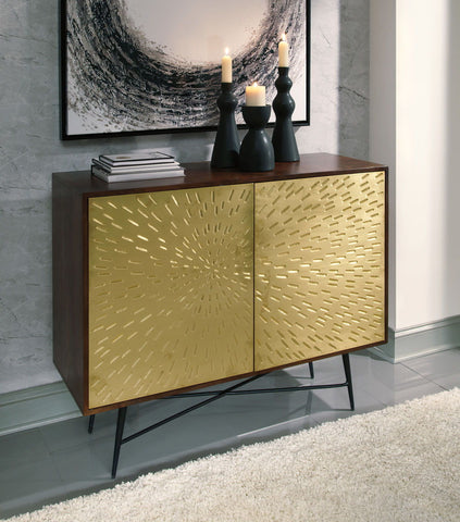 Shop Ashley Furniture Majaci Brown/Gold Accent Cabinet at Mealey's Furniture