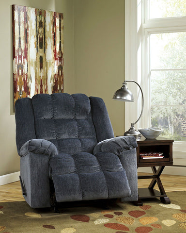 Shop Ashley Furniture Ludden Blue Rocker Recliner at Mealey's Furniture