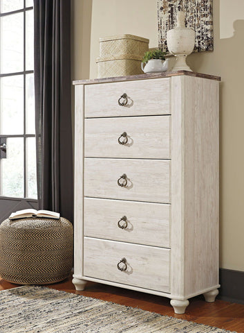 Shop Ashley Furniture Willowton Whitewash Five Drawer Chest at Mealey's Furniture