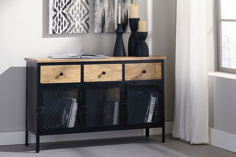 Shop Ashley Furniture Ponder Ridge Black/Natural Accent Cabinet at Mealey's Furniture