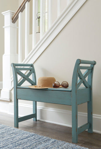 Shop Ashley Furniture Heron Ridge Blue Accent Bench at Mealey's Furniture