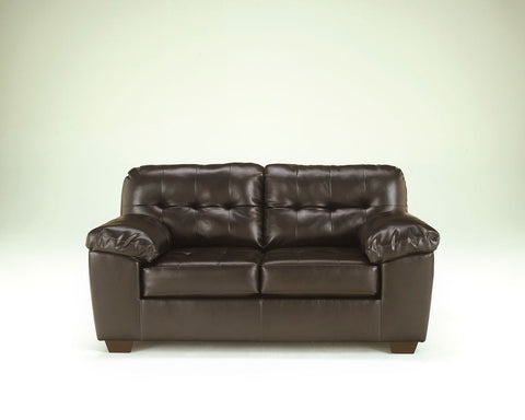 Shop Ashley Furniture Alliston Dura Blend Chocolate Loveseat at Mealey's Furniture