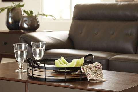 Shop Ashley Furniture Diantha- Black/Natural Tray at Mealey's Furniture