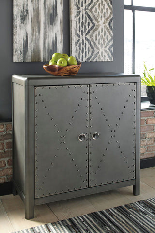Shop Ashley Furniture Rock Ridge Aged Steel Door Accent Cabinet at Mealey's Furniture