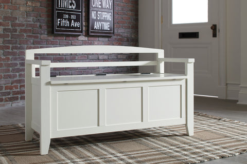 Shop Ashley Furniture Charvanna White Storage Bench at Mealey's Furniture